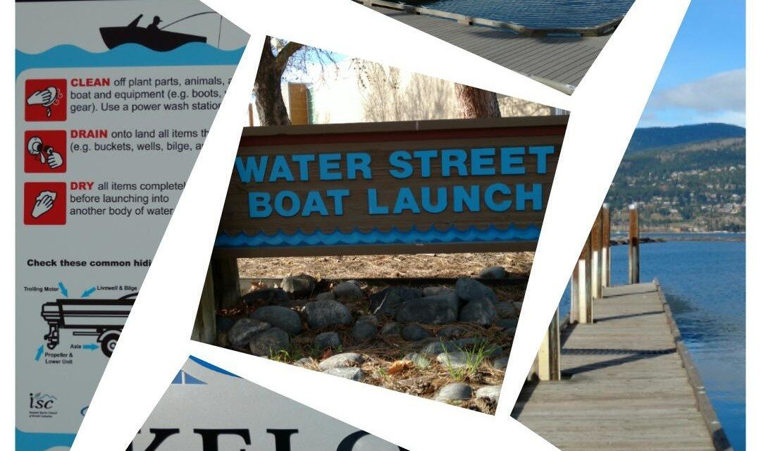 a collage of boat launches on Okanagan Lake.